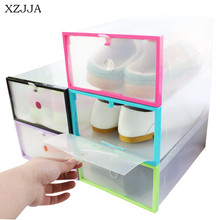 XZJJA Creative DIY Colorful Clear Shoes Storage Box Foldable Drawer Type Storage Box For Women Men Shoes Organizer(China)