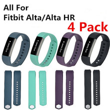 (4 Pack ) Small/ Large Band Size Replacement Wristband Band Strap for Fitbit Alta/ Alta HR Silicone Bands