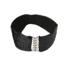 Women Fashion Paillette Buckle Wide Elastic Belt Waistband Girdle Buckle Decoration Black(China)