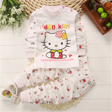 newborn infant children long johns baby girl clothes set autumn winter hello kitty 2pieces t-shirt & pants baby boy clothes sets