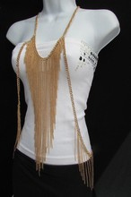 New Women Gold Full Body Chain Front Sides Fashion Jewelry Long Necklace
