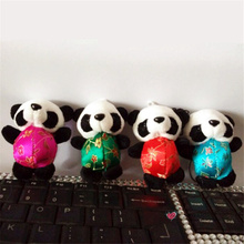 Free shipping 4pcs/lot Panda Plush toys Keychains hangers Chinese Traditional Tang Suits Stuffed animals Kung kids fu gifts