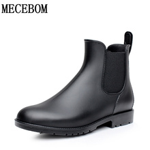 Men rubber rain boots fashion chelsea botas hombre casual slip-on waterproof ankle boots moccasins zapatos masculino 38-43 102