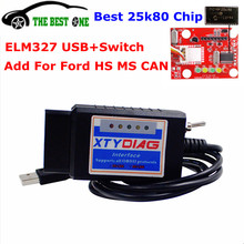 Newest Forscan ELM327 USB V1.5 25K80 Chip Add Hidden Function For Ford ELM 327 USB Switch For Ford HS-CAN / MS-CAN OBD2 Scanner
