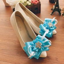 Womens top quality delicated hand made wedding shoe blue bow bowtie flower rhinestones bridal pumps shoes white thin high heel