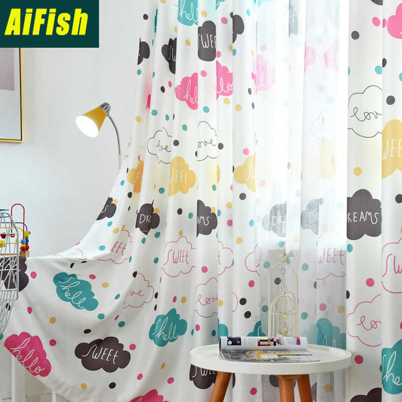 Children Lovely Cartoon Half Blackout Curtain Custom for Bedroom Living Room windows Colorful Cloud Tulle Curtain Cloth  wp163&3