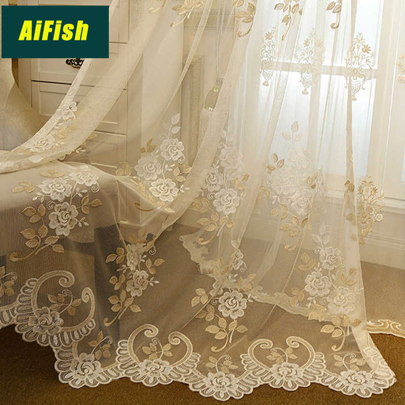 Luxury Embroidery Floral Lace Tulle Curtains For Living Room Bedroom Ready Made Sheer Voile Curtain Drapery for Balcony WP364&3