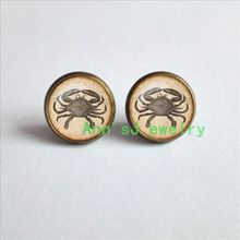 HZ4-00279 1pair Crab Earrings antique eardrops ephemera jewelry Earrings glass stud earrings Cabochon Earrings(China)
