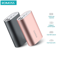 ROMOSS ACE 10000mAh Dual USB Outputs Aluminum Alloy External Battery Pack Power Bank For iPhone 7 7plus Tablets Smartphone(China)