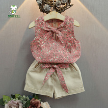 2017 new style girls small fresh floral suit sleeveless shorts two piece set children's sets fashion baby clothes 1-6years old