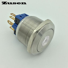 Zusen 25mm stainless steel dot illuminated on/off push button switch(GQ25F-22ZD/W/12V/S)(China)