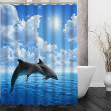 Custom Cute Dolphin Shower Curtain High Quality Waterproof Fabric Bathroom  Curtain Home Decoration(China)