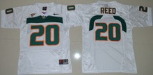 Nike Youth Miami Hurricanes Ed Reed 20 # College Ice Hockey Jerseys- White Size S,M,L,X(China)