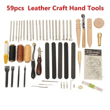 Buy New Arrival 59Pcs Leather Craft Hand Tools Kit Hand Stitching Sewing Stamping Set Hand Work DIY Sewing Leathercraft Tool for $39.88 in AliExpress store