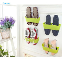 TENSKE Amazing Hanging Wall Shoes Rack storage Organizer Space Saving DIY Shoe Rack Bathroom Shoe Rack Random(China)
