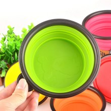 New Foldable Silicone Pet Bowl Candy Color Outdoor Travel Portable Puppy Doogie Food Container 8 Color