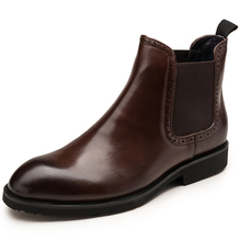 2017 New Italian Men's Chelsea Boots Genuine Leather Elastic Band Roundd Toe Cow Leather Chakku Ankle Dress Wedding Boots