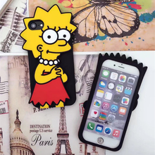 2017Funny 3D Cute Cartoon Dull Polish Simpson couple Phone cover Case for Iphone7 5 5S 6 6s 7Plus soft Simpson case for iphone7