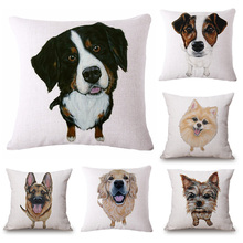 45cm*45cm Pet dog pattern zoom style linen/cotton pillow covers sofa pillow case dog cushion cover decorative pillows(China)