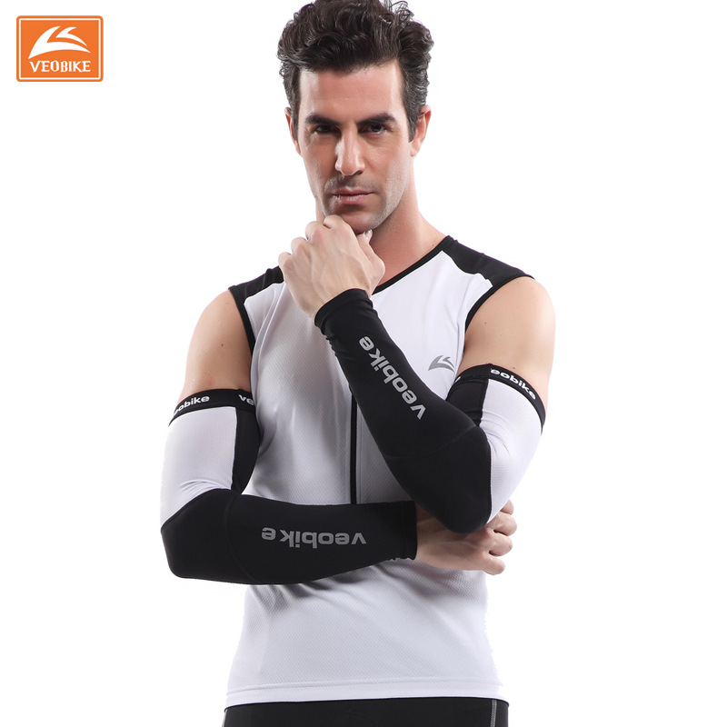VEOBIKE Black Cycling Arm Sleeves Armwarmer UV Protection Breathable Sleeves Arm MTB Ridding Bike Bicycle Cycling Arm Warmers