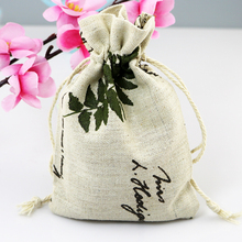 (10 pieces/lot) Cotton Drawstring Bag Cotton Pouch/Product Packaging/Jewelry Pouch Can Custom Logo Leaf Print 10x14cm