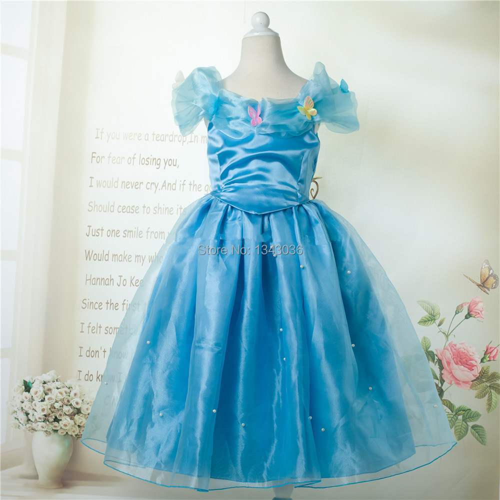&E-babe&Wholesale 2016 New Movie Cinderella Princess Girls Dress Children Party Vestidos Kids Cosplay Costume Blue FreeShipping