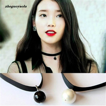 2017 New Fashion Personality Black Imitation Pearl Pendant Necklace Short Necklace, Women Jewelry Necklace Black Ribbon Lace(China)