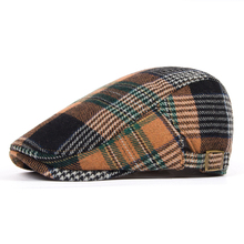 Beret male 100% cotton sanded check women's cap fashion plaid fashion autumn and winter casual hat