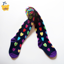New dressing Purple Heart shaped pattern Baby Girl Tights Cotton Cute Children Stocking Baby Pantyhose For Kid 2-9 Years(China)