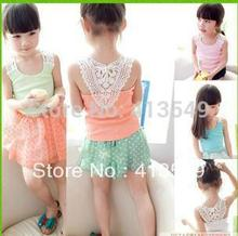 In Stock Summer Girls Vest Tops Soft Cotton Back Lace Baby Girl T-shirts Kids Clothes Children Clothing(China)