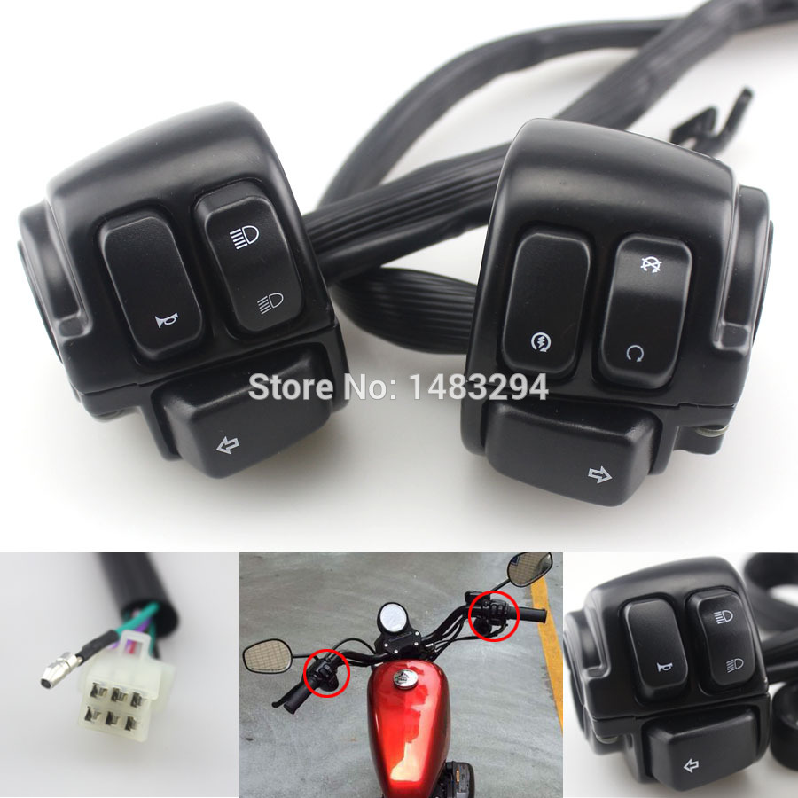 Black 1 Handlebar Switch Controller+Wire Harness Fits fits for Harley Sportster 1996-2013<br>