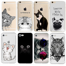Silicon Cat Phone Case Cover for Coque iPhone 7 4 5S 5C SE 6 6S Plus Phone cases Soft TPU Fundas Fruit Transparent