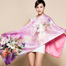 2017 Double Layer Brushed Mulberry Silk Scarf For Women 190*52cm Female Long Design Satin Silk Cape Spring Autumn Purple Wraps(China)