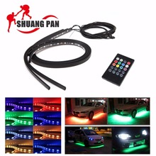 4PCS 2x 60cm + 2x 90cm RGB 12V Car Interior Decoration Lamp LED Automobile Chassis Lights Bar Neon Strip(China)