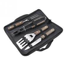 1 SET BBQ Grill Stainless Steel Barbecue Set with Storage Case Outdoor   Barbecue Tool Combination(4PCS/Set)