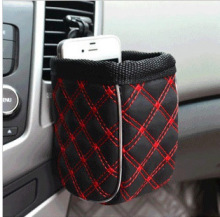leather Red wine outlet sundry barrel finishing storage bag hanging bags of car mobile phone holder bag(China)
