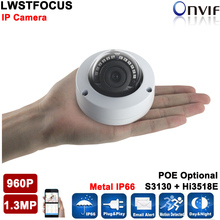 2016 H264 New 960P 1.3MP IP Camera CCTV Dome Camera IP66 Vandal-proof Waterproof Outdoor IP Cam Mini IR Dome Camera IP
