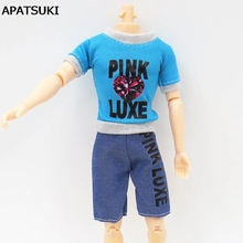 Doll Accesssories Casual Wear For Ken Doll Blue T-Shirt + Jeans Short Pants For Barbie's Boyfriend Ken Doll  Male Doll Clothes