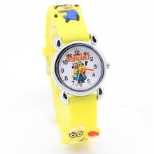 1 шт. НОВЫЙ Мультфильм 3D Дети Часы Хороший Подарок детям смотреть Гадкий я Миньоны моды наручные часы