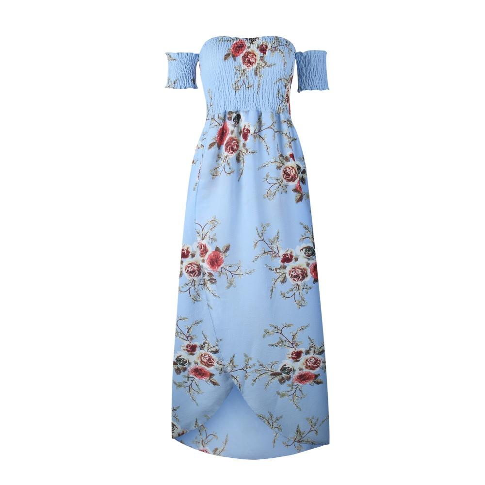 LOSSKY Off Shoulder Vintage Print Maxi Summer Dress 5