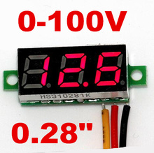 "red LCD display mini 0.28"" DC Digital Voltmeter Panel Mount LED Voltage tester Volt Meter 0-100V for car 40% off"