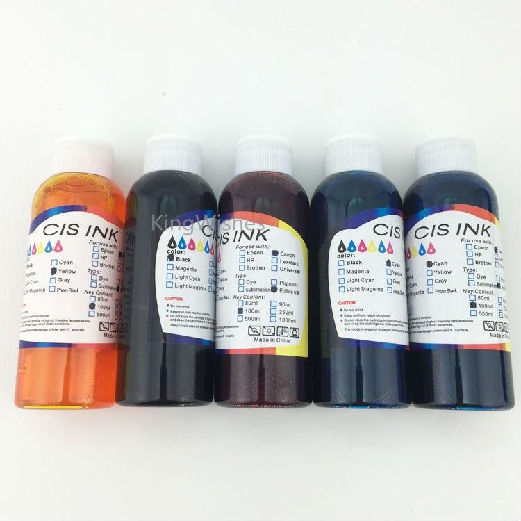 Inkjet Printer 100ML x 5PCS T0731N T0731N T0732N T0733N T0734N Edible Ink For Epson Stylus TX510FN BK BK C M Y<br>