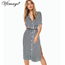 Vfemage Womens Elegant Vintage Striped Button Down Sexy Side Split Slit Belted 2017 Summer Work Office Casual Shirt Dress 7115