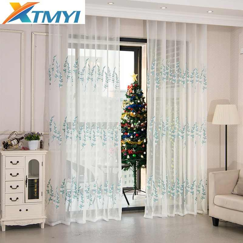 Pastoral Blue leaves embroidery curtains tulle Window curtain living room white curtains for children's rooms
