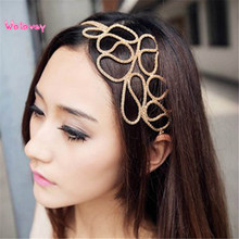 New Style New Hot Fashion Hollow Out Braided Gold Head Band Stretch Hair Accessories Girl Wolovey#15