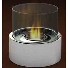 Metal Glass Crafts Bio Ethanol Talbe Top Fireplace Home Decoration Round Tube Design KW2302(China)