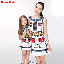 Beke Mata Mother Daughter Dresses 2017 Summer Cartoon Graffiti Mother And Daughter Clothes Party Family Matching Clothing Outfit(China)