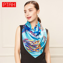PTAH Pattern Print Floral Oversized Long Pure Silk Scarf For Women Spring Luxury Brand Muffler Ladies Accessories Novelty 285(China)