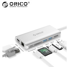 ORICO 7in1 Тип-C Алюминий док-станция для ноутбука USB C для чтения карт DisplayPort HDMI 4 К USB3.0 Тип C PD адаптер для MacBook(China)