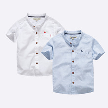 Summer new boy stand collar short-sleeved cottonseed shirt white light blue performance suit age from 4-12T